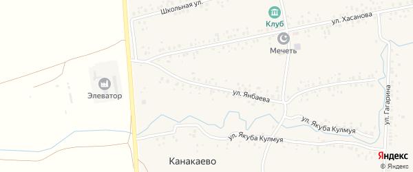 Улица Янбаева на карте деревни Канакаево с номерами домов