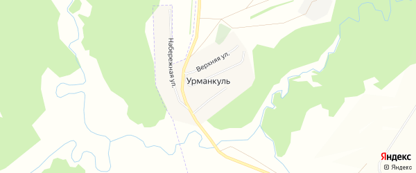 Карта деревни Урманкуля в Башкортостане с улицами и номерами домов