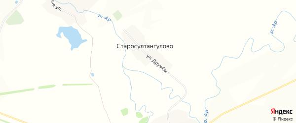 Карта деревни Старосултангулово в Башкортостане с улицами и номерами домов