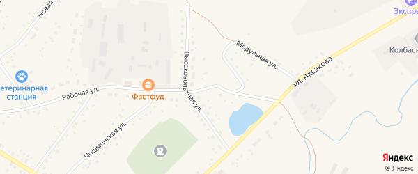 Высоковольтная улица на карте села Кармаскалы с номерами домов