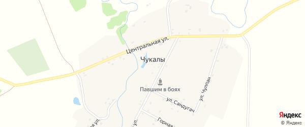 Горная улица на карте деревни Чукалы с номерами домов