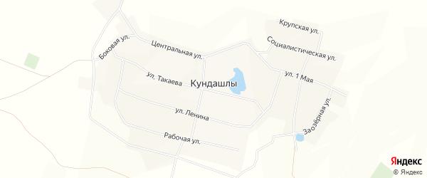 Карта деревни Кундашлы в Башкортостане с улицами и номерами домов