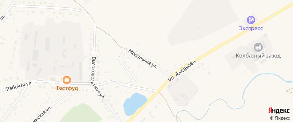 Модульная улица на карте села Кармаскалы с номерами домов