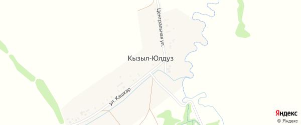 Центральная улица на карте деревни Кызыла-Юлдуза с номерами домов