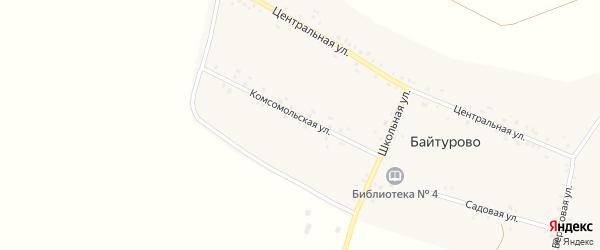 Комсомольская улица на карте деревни Байтурово с номерами домов