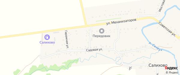 Зеленая улица на карте села Салихово с номерами домов