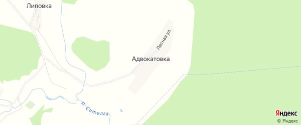 Карта деревни Адвокатовки в Башкортостане с улицами и номерами домов