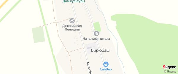Школьная улица на карте деревни Бирюбаша с номерами домов