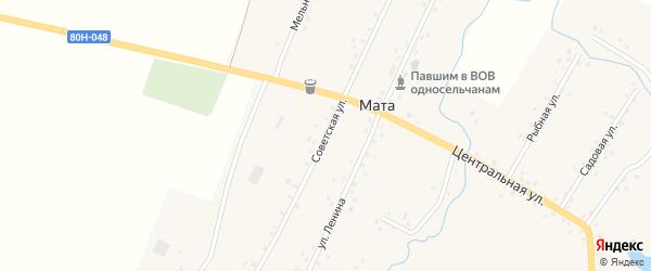 Советская улица на карте деревни Маты с номерами домов