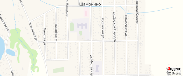 Улица Мустая Карима на карте деревни Шамонино с номерами домов