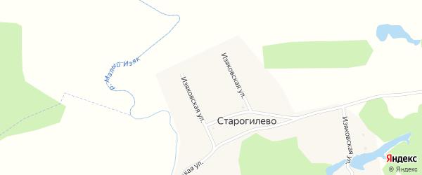 Изяковская улица на карте деревни Старогилево с номерами домов