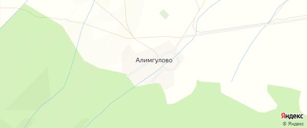 Карта деревни Алимгулово в Башкортостане с улицами и номерами домов