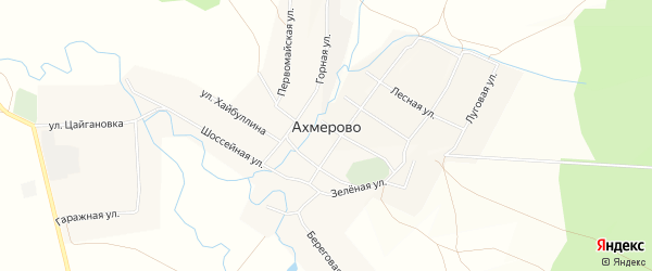Карта села Ахмерово в Башкортостане с улицами и номерами домов