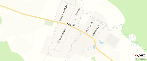 Карта деревни Маты в Башкортостане с улицами и номерами домов