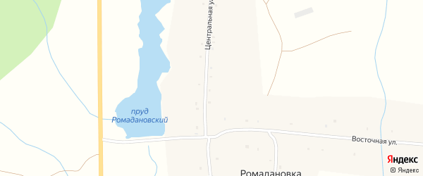 Центральная улица на карте села Ромадановки с номерами домов
