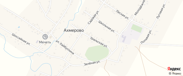 Уральская улица на карте села Ахмерово с номерами домов
