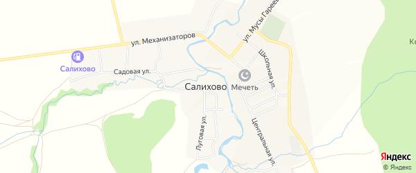 Карта села Салихово в Башкортостане с улицами и номерами домов