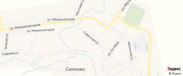 Советская улица на карте села Салихово с номерами домов
