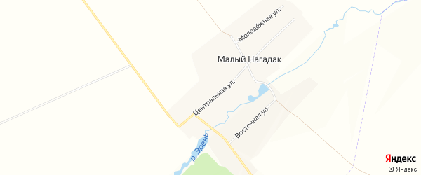 Карта деревни Малого Нагадак в Башкортостане с улицами и номерами домов