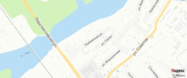Пойменная улица на карте Уфы с номерами домов