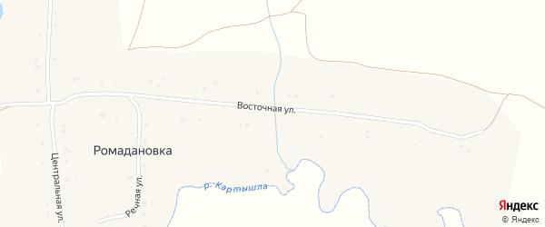 Восточная улица на карте села Ромадановки с номерами домов