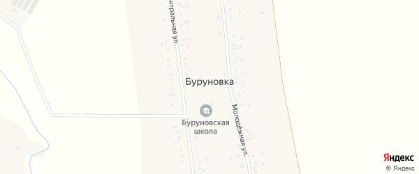 Центральная улица на карте села Буруновки с номерами домов