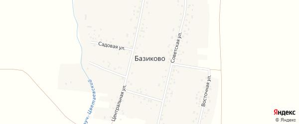 Восточная улица на карте деревни Базиково с номерами домов