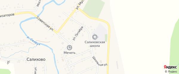 Школьная улица на карте села Салихово с номерами домов