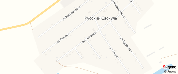 Улица Чапаева на карте деревни Русского Саскуля с номерами домов