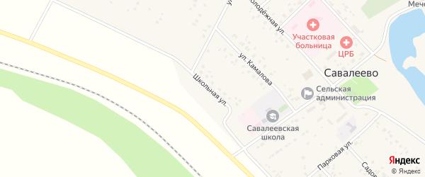 Школьная улица на карте деревни Савалеево с номерами домов