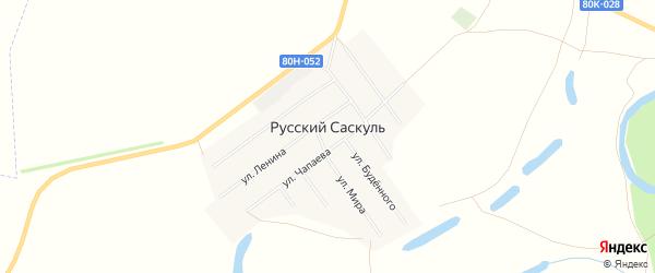 Карта деревни Русского Саскуля в Башкортостане с улицами и номерами домов