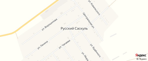 Улица Сайгановка на карте деревни Русского Саскуля с номерами домов