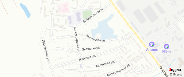 Кигинская улица на карте Уфы с номерами домов