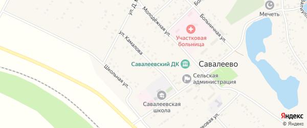 Улица Камалова на карте деревни Савалеево с номерами домов