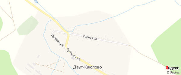 Горная улица на карте деревни Даут-Каюпово с номерами домов