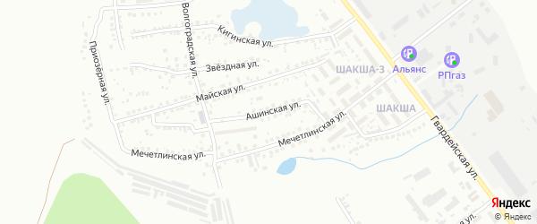 Ашинская улица на карте Уфы с номерами домов