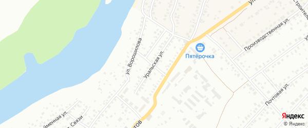 Уральская улица на карте Уфы с номерами домов