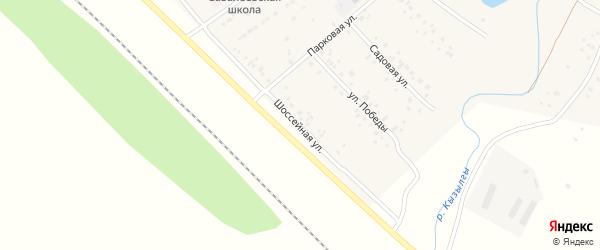 Шоссейная улица на карте деревни Савалеево с номерами домов