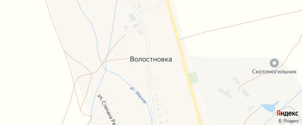 Центральная улица на карте села Волостновки с номерами домов