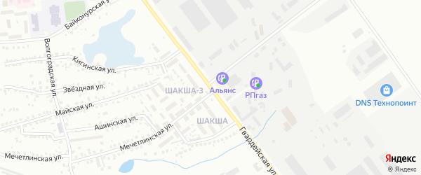 Гвардейская улица на карте Уфы с номерами домов