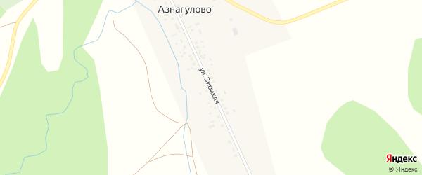 Улица Зирикля на карте деревни Азнагулово с номерами домов