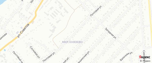 Почтовая улица на карте деревни Князево с номерами домов