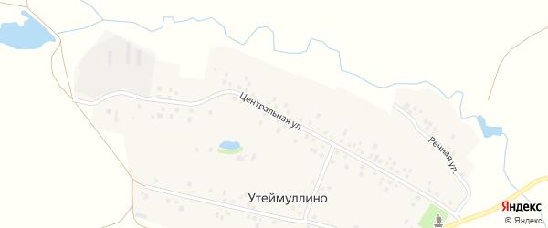 Центральная улица на карте деревни Утеймуллино с номерами домов