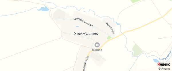 Карта деревни Утеймуллино в Башкортостане с улицами и номерами домов