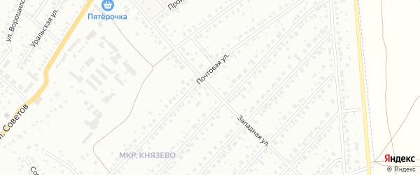 Западная улица на карте деревни Князево с номерами домов