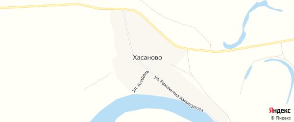 Карта деревни Хасаново в Башкортостане с улицами и номерами домов