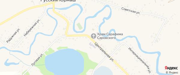 Центральная улица на карте села Русского Юрмаша с номерами домов