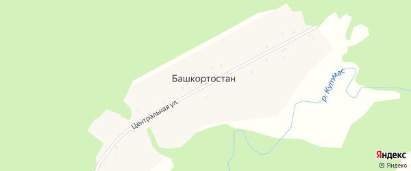 Центральная улица на карте деревни Башкортостана с номерами домов