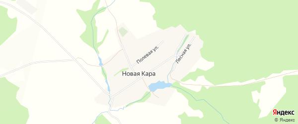 Карта деревни Новой Кары в Башкортостане с улицами и номерами домов