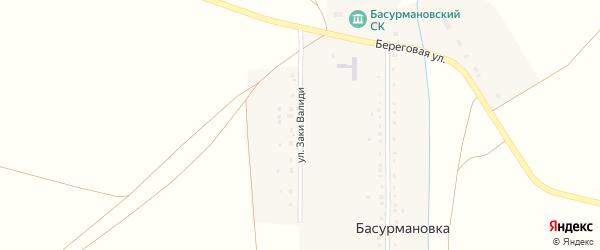 Улица Заки Валиди на карте деревни Басурмановки с номерами домов